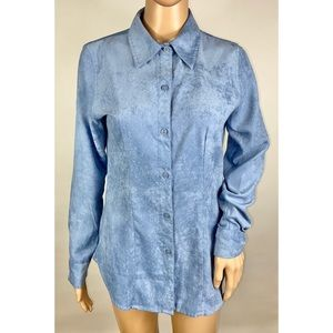 New York & Company Faux Suede Button Down Shirt